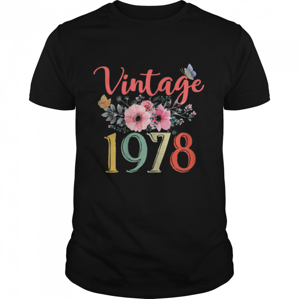 Vintage 1978 Floral 43rd Birthday Awesome Since 1978  Classic Men's T-shirt
