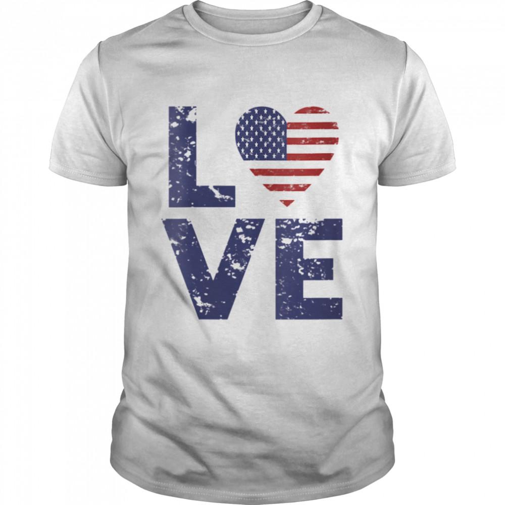 American Flag Heart Love 4th Of July Patriotic America USA Shirt