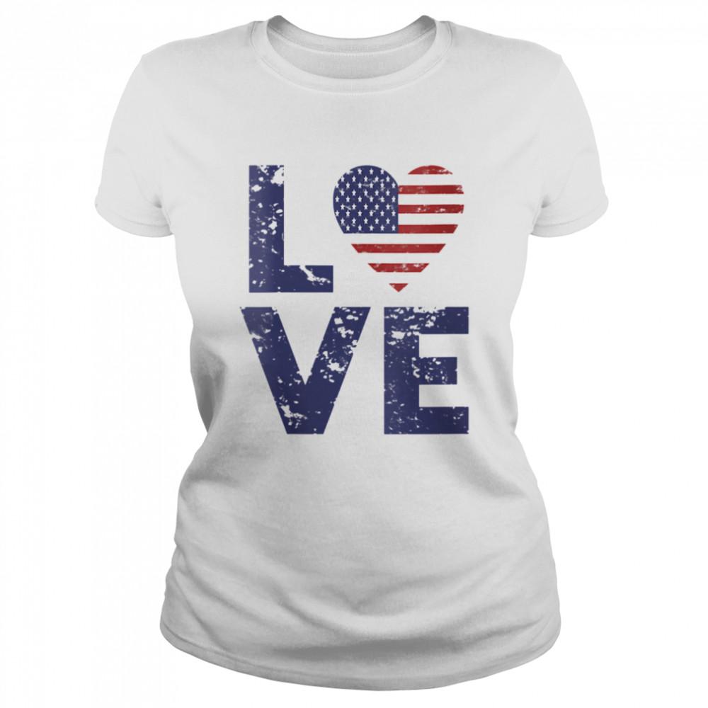 American Flag Heart Love 4th Of July Patriotic America USA  Classic Women's T-shirt