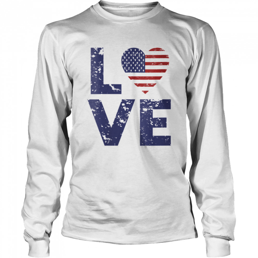 American Flag Heart Love 4th Of July Patriotic America USA  Long Sleeved T-shirt