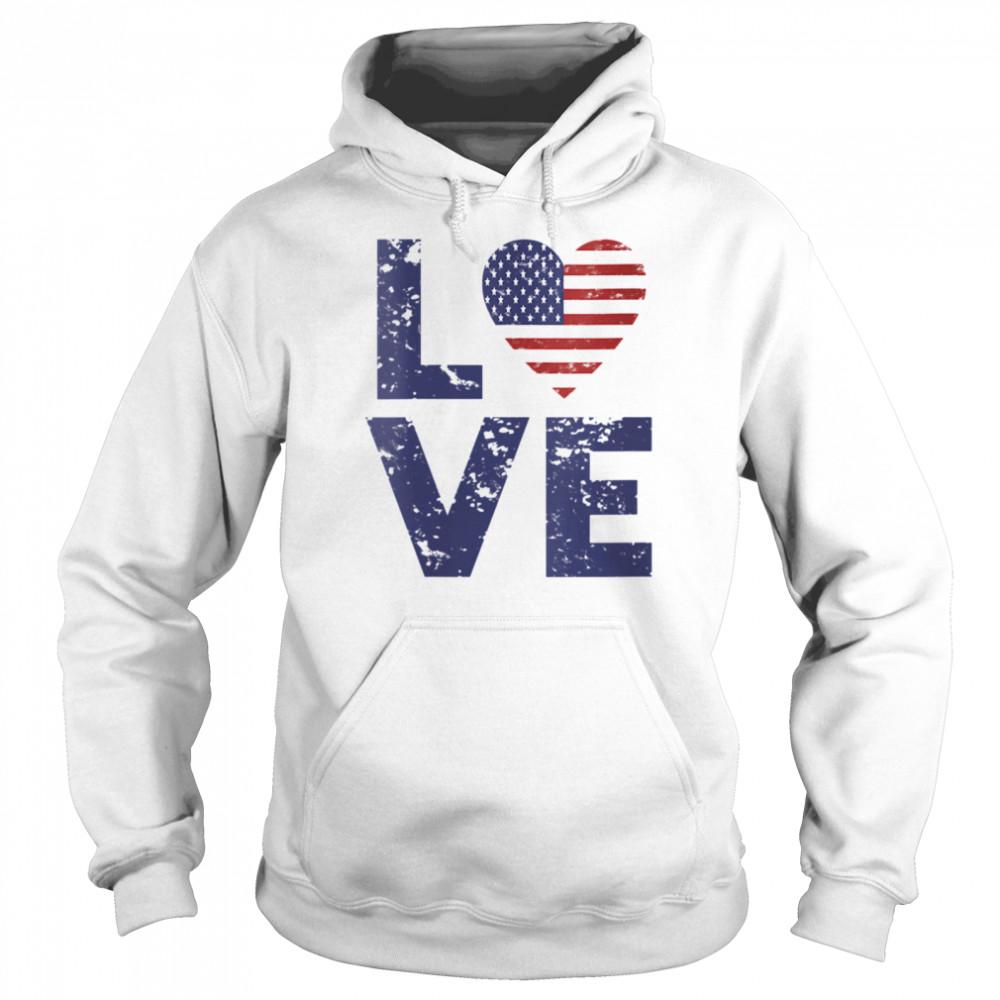 American Flag Heart Love 4th Of July Patriotic America USA  Unisex Hoodie
