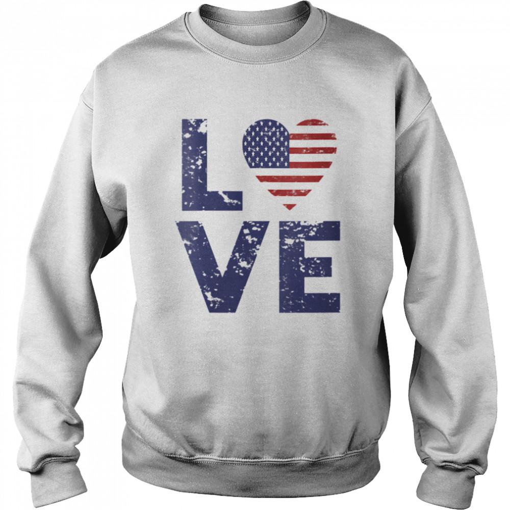 American Flag Heart Love 4th Of July Patriotic America USA  Unisex Sweatshirt