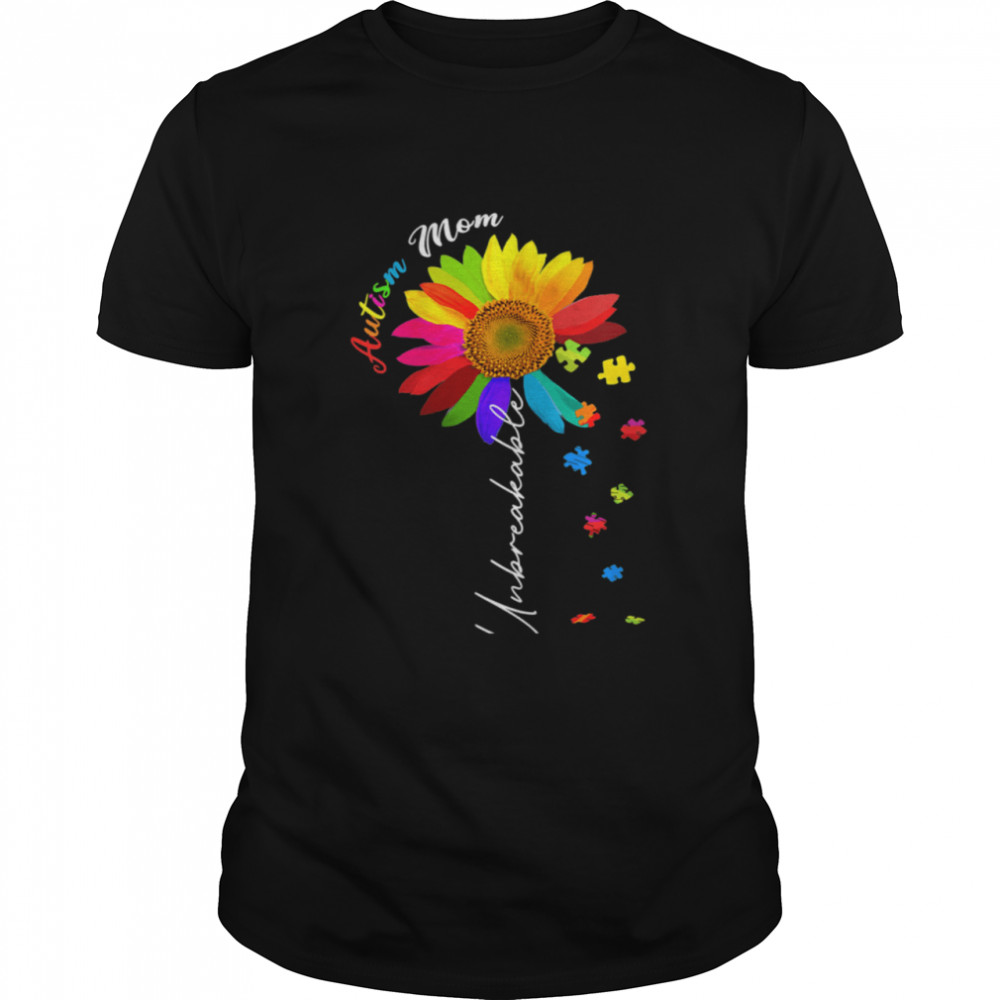Autism Mom Unbreakable Autism Awareness Daisy Floral Shirt
