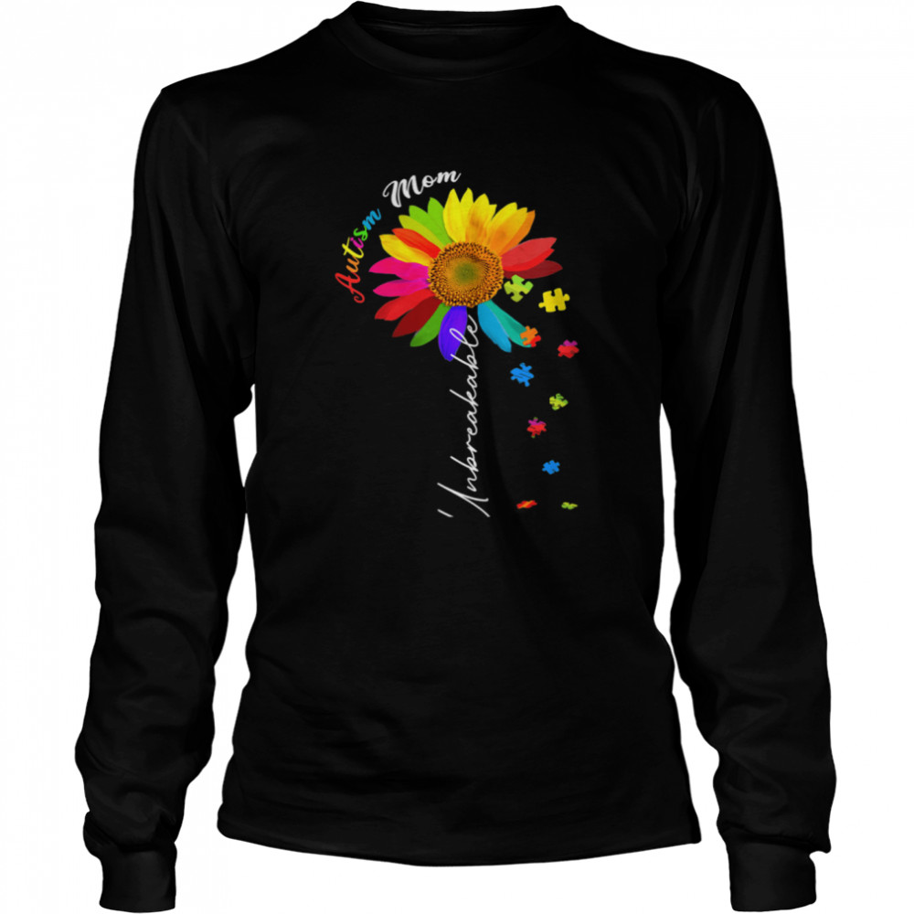 Autism Mom Unbreakable Autism Awareness Daisy Floral  Long Sleeved T-shirt