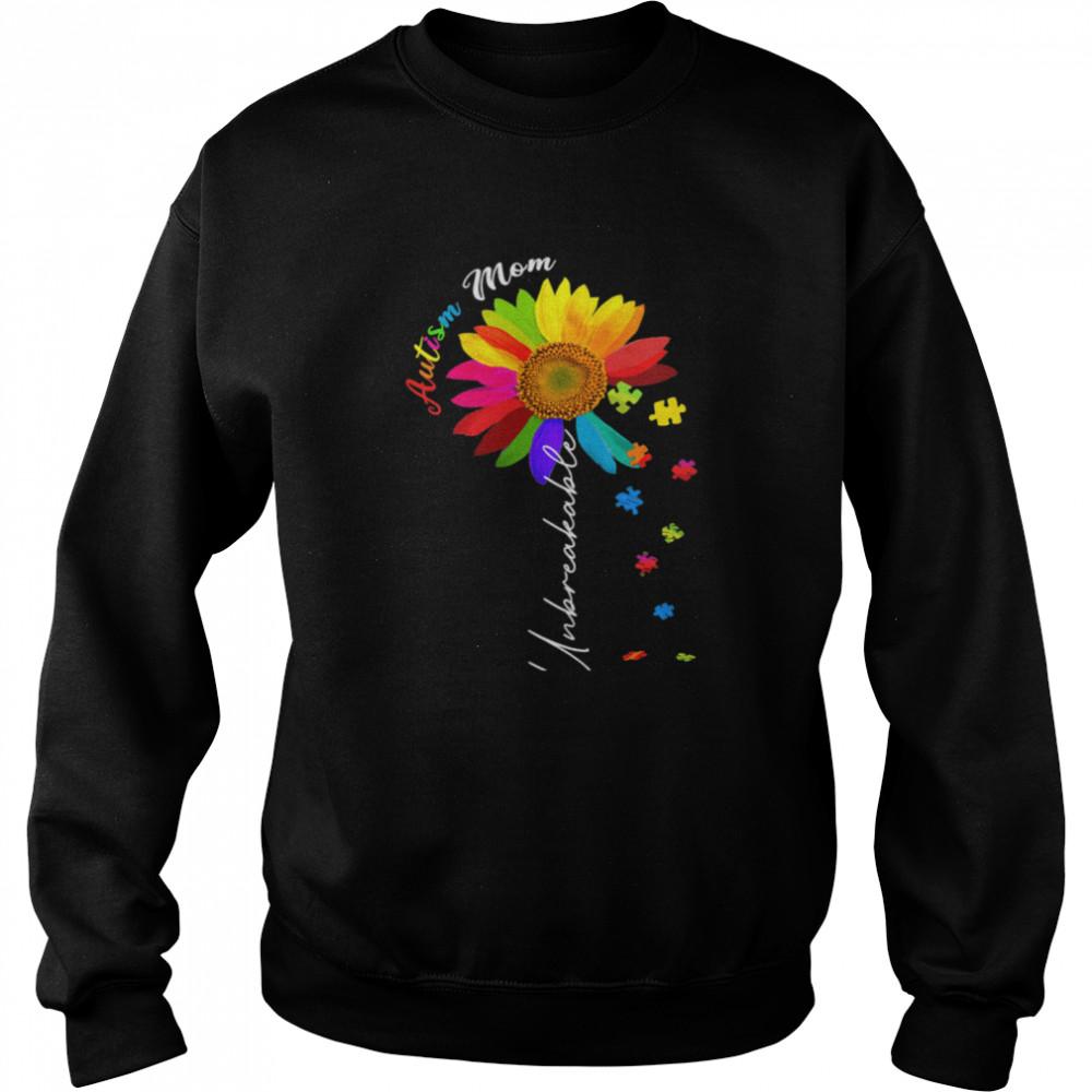 Autism Mom Unbreakable Autism Awareness Daisy Floral  Unisex Sweatshirt