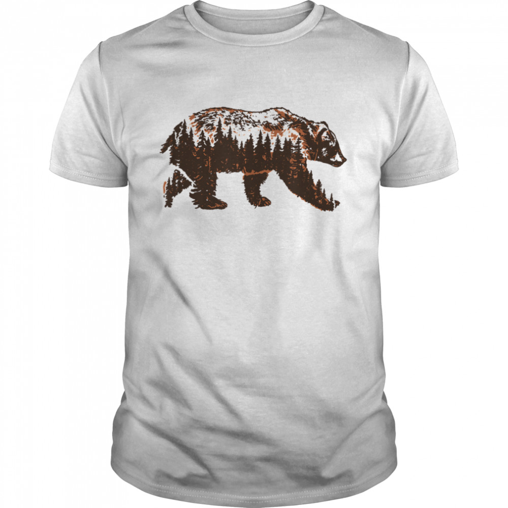 Bear of a Forest Vintage Grizzly & Trees Illustration Nature shirt Classic Men's T-shirt