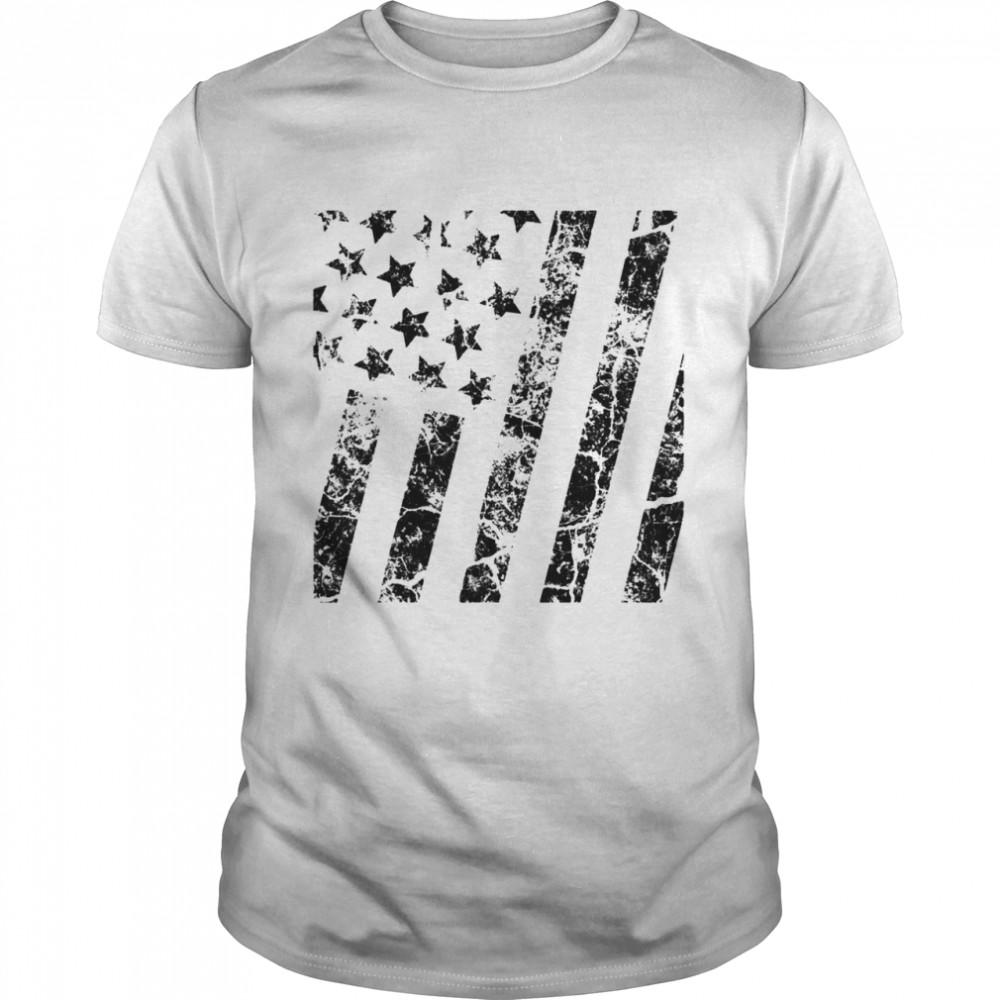 Distressed Black White Boys Girls American Flag  Classic Men's T-shirt