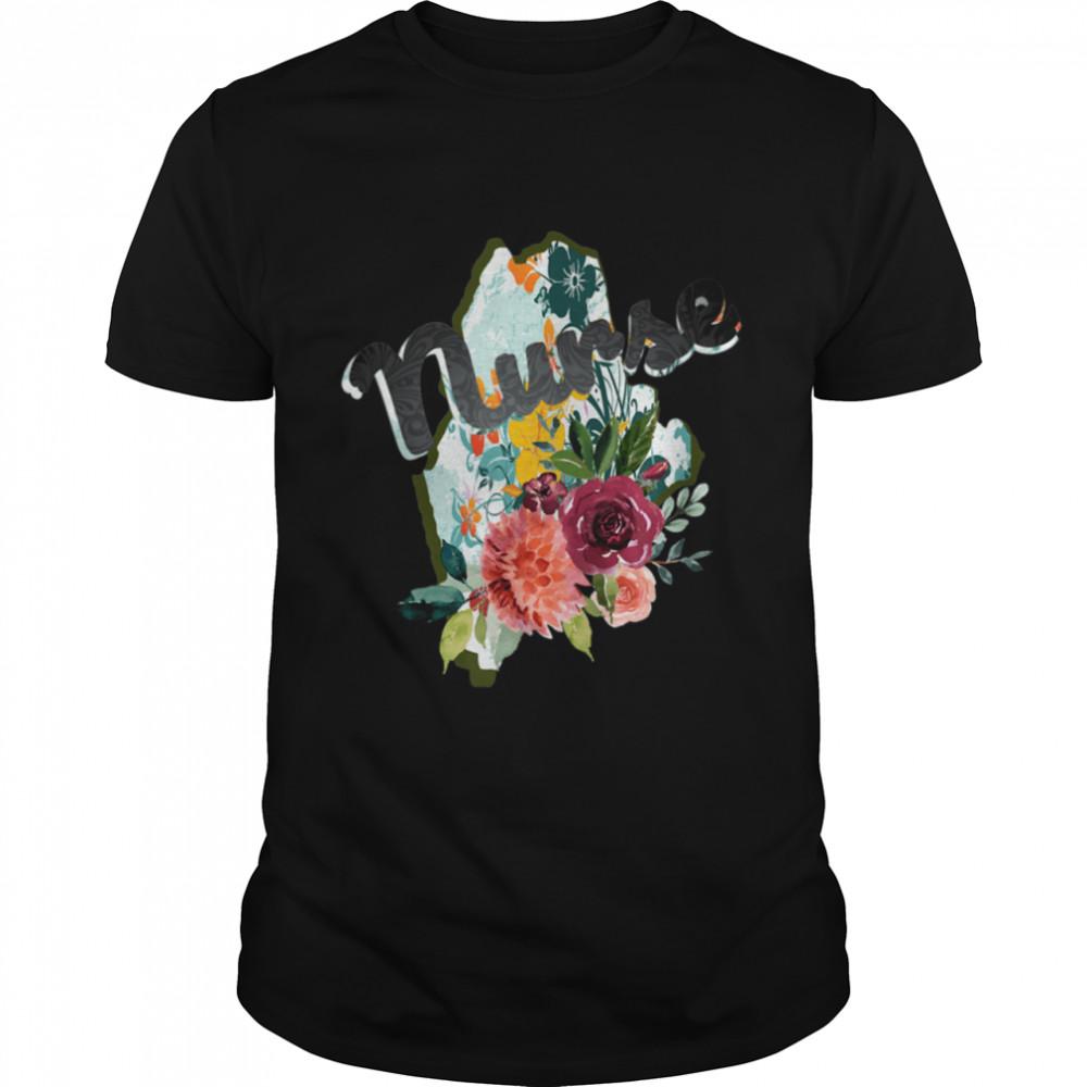 Maine Nurse Watercolor Flower Tote Bag  Classic Men's T-shirt