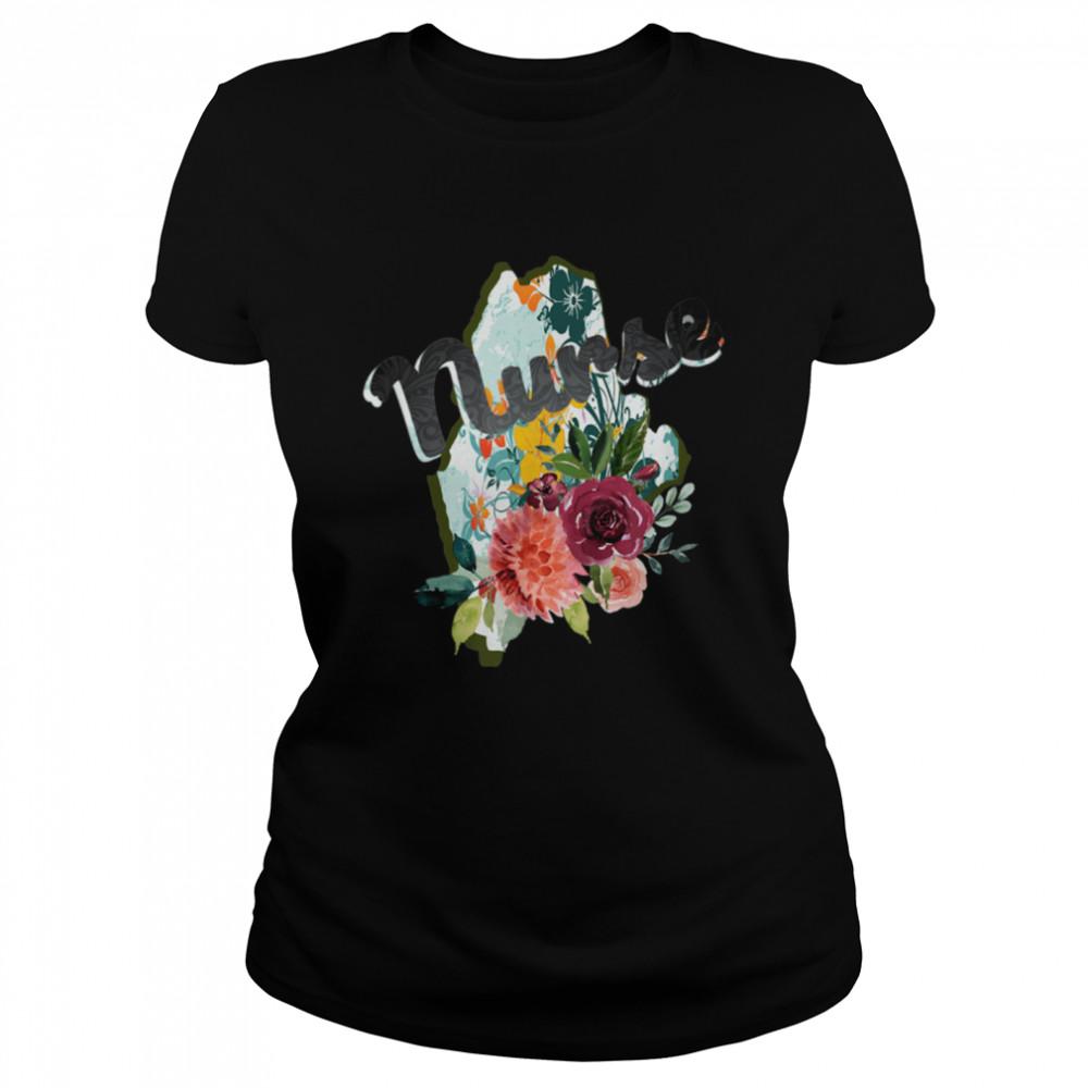 Maine Nurse Watercolor Flower Tote Bag  Classic Women's T-shirt