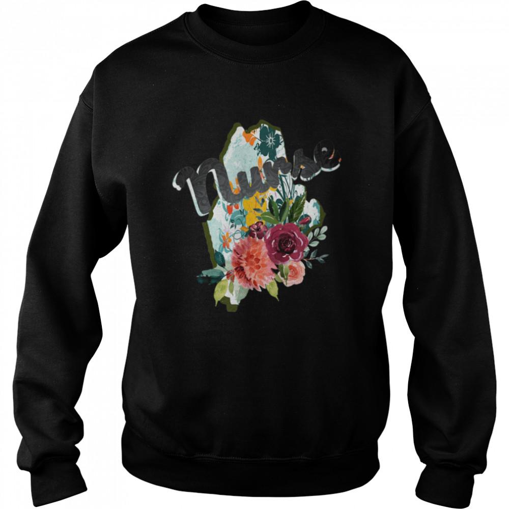 Maine Nurse Watercolor Flower Tote Bag  Unisex Sweatshirt
