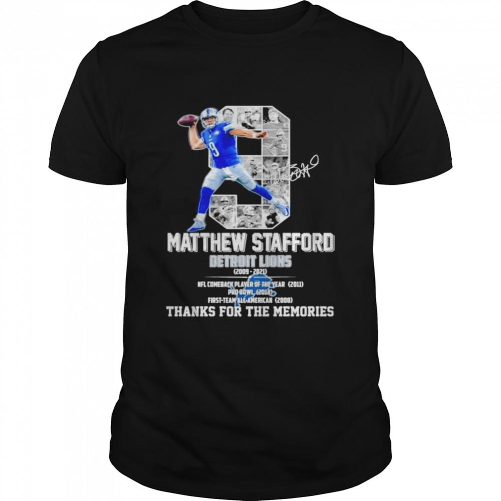 Matthew Stafford Detroit Lions 2009-2021 thanks for the memories shirt Classic Men's T-shirt