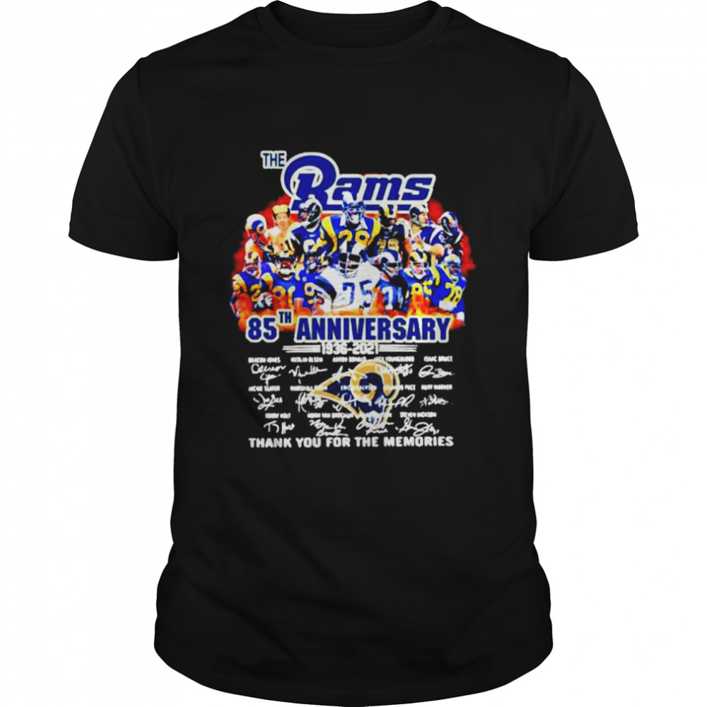 New update The Los Angeles Rams 85th anniversary 1936-2021 thank you for the memories signatures shirt