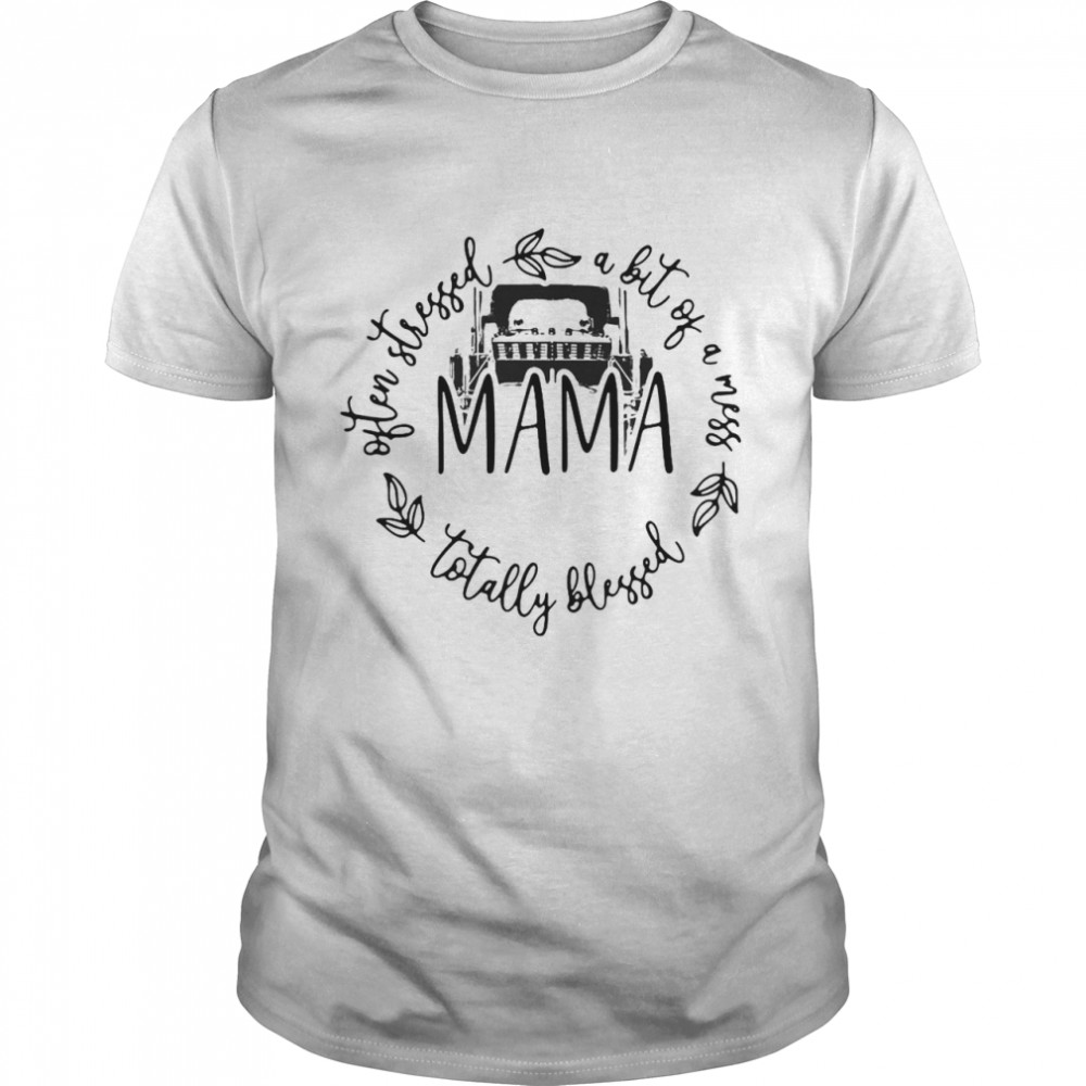 Often Stressed A Bit Of A Mess Totally Blessed Mama T-shirt