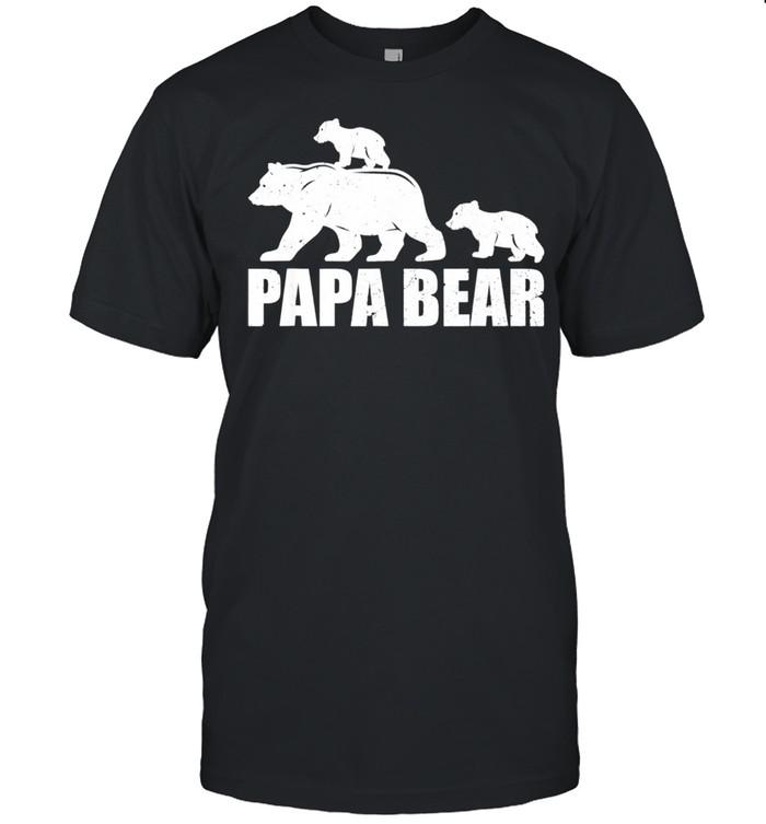 Papa Bear Two Cubs Daddy Bear Twin Papa 2 Shirt