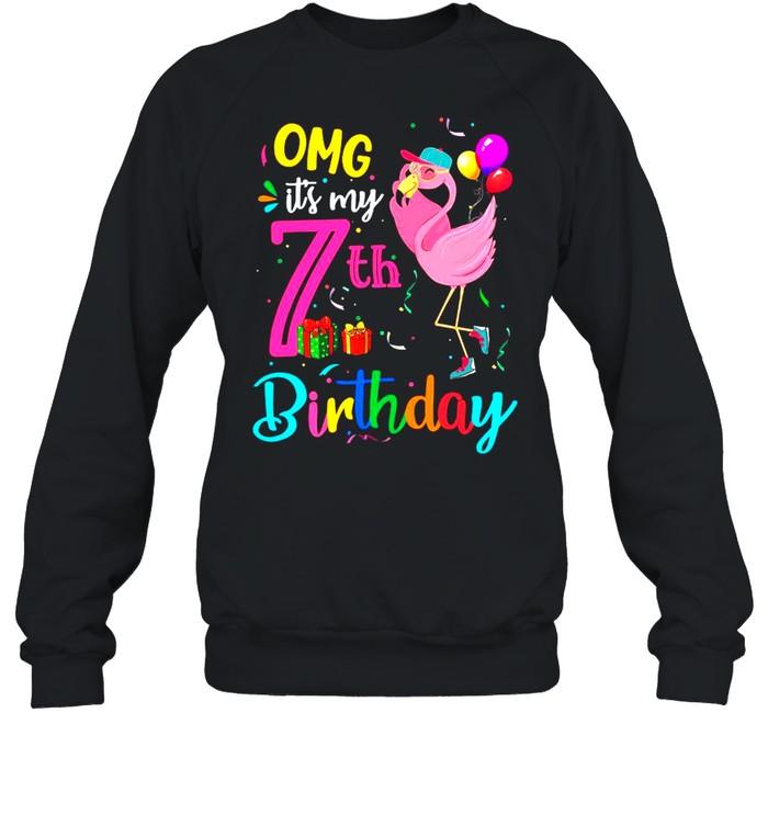 Flamingo OMG It's My 7th Happy Birthday shirt Unisex Sweatshirt