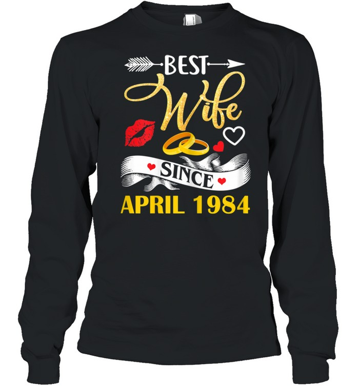 37 Wedding Anniversary Outfit Best Wife Since 1984  Long Sleeved T-shirt
