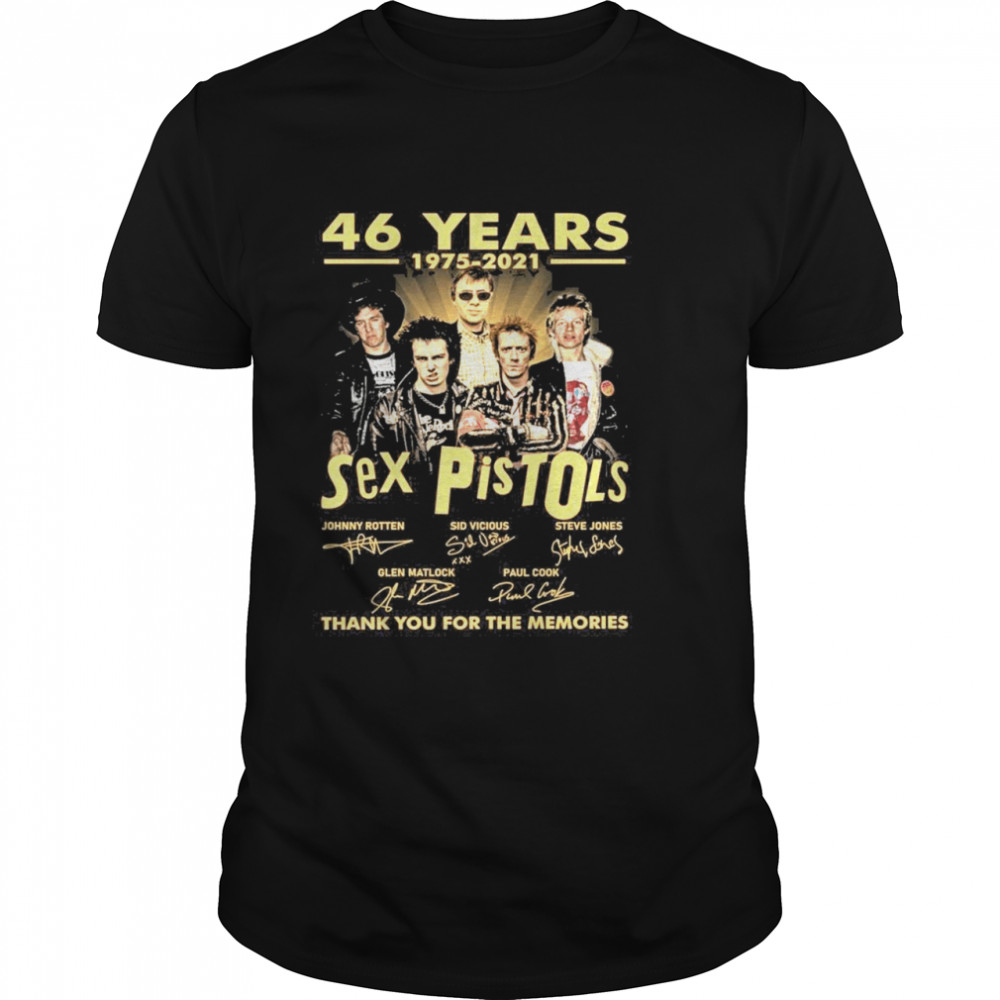 46 Years 1975 2021 Sex Pistols Signatures Thank You For The Memories  Classic Men's T-shirt