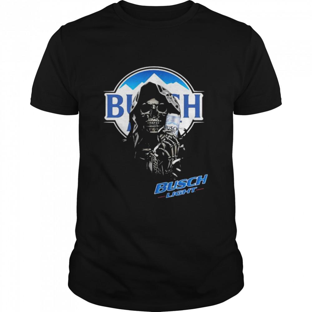 Skull Holding Busch Light Logo Shirt