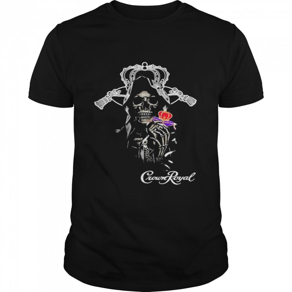 Skull Holding Crown Royal Logo Shirt