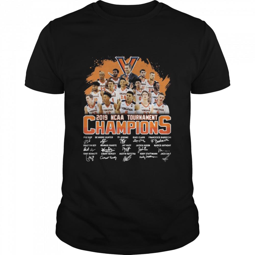 Virginia Cavaliers 2019 NCAA tournament champions signatures shirt