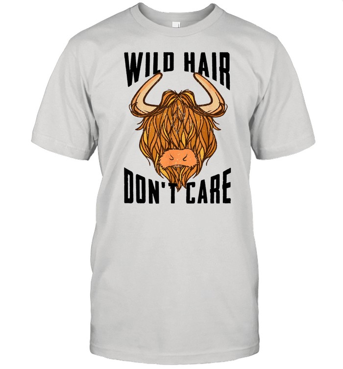 Cool Scottish Highland Cow Wild Hair Don't Care  Classic Men's T-shirt