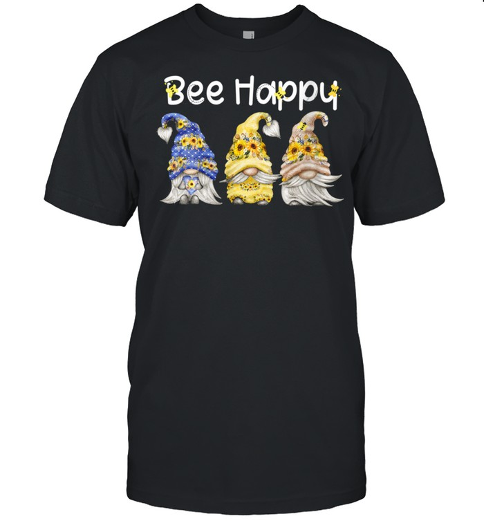 Womens Bee Happy Bee Gnome Spring Sunflower Gnome shirt
