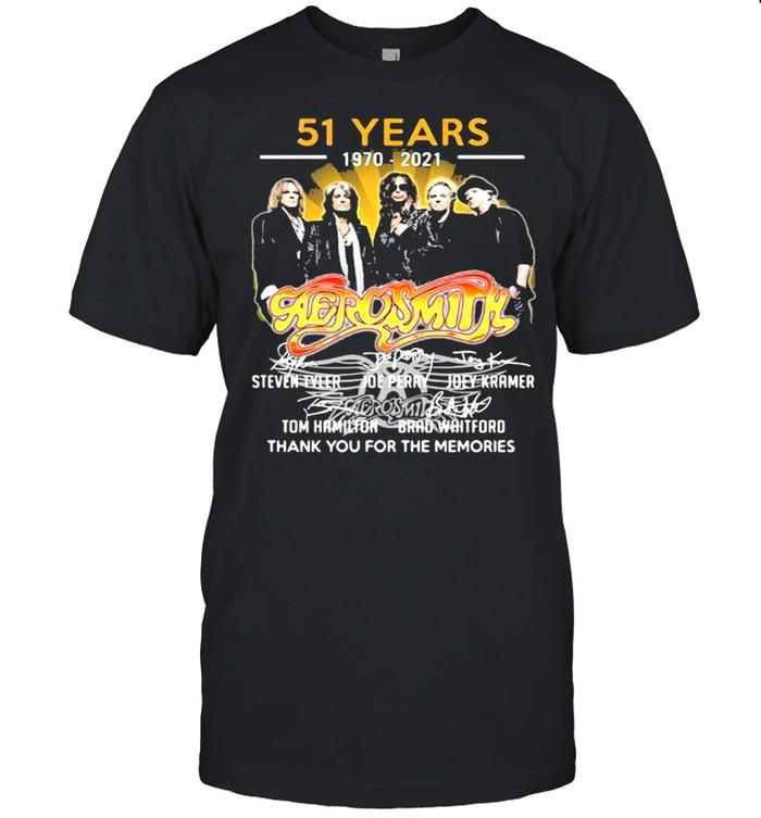 51 Years 1970 2021 Aerosmith Thank You For The Memories Signature Shirt