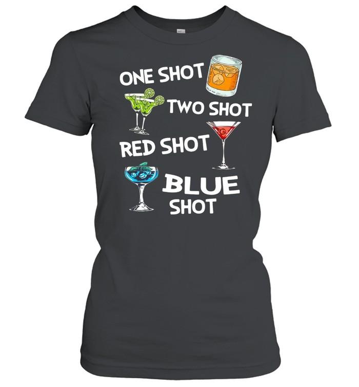 Cocktails One Shot Two Shot Red Shot Blue Shot T-shirt Classic Women's T-shirt