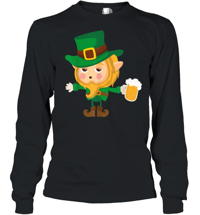 Cute Drunk Elf On Cool St. Patrick's Day For shirt Long Sleeved T-shirt