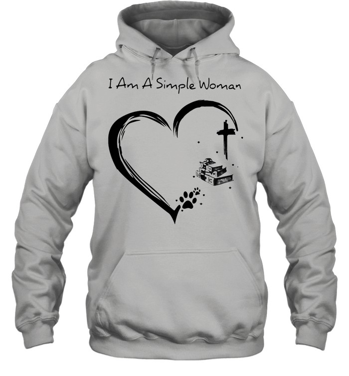 I Am A Simple Woman Dog Books And Jesus  Unisex Hoodie