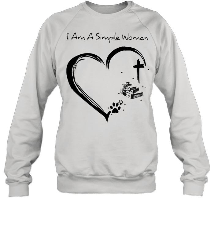 I Am A Simple Woman Dog Books And Jesus  Unisex Sweatshirt