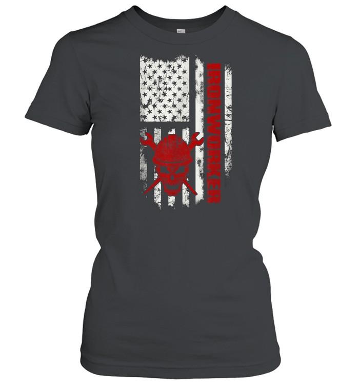 Iron Workers Skull Flag America Ironworker shirt Classic Women's T-shirt