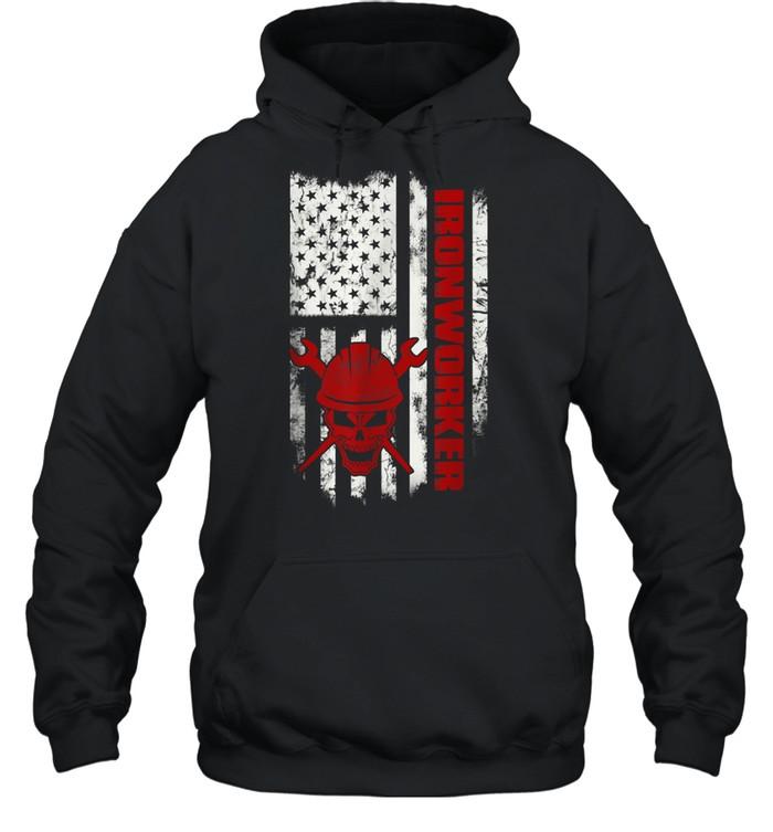 Iron Workers Skull Flag America Ironworker shirt Unisex Hoodie