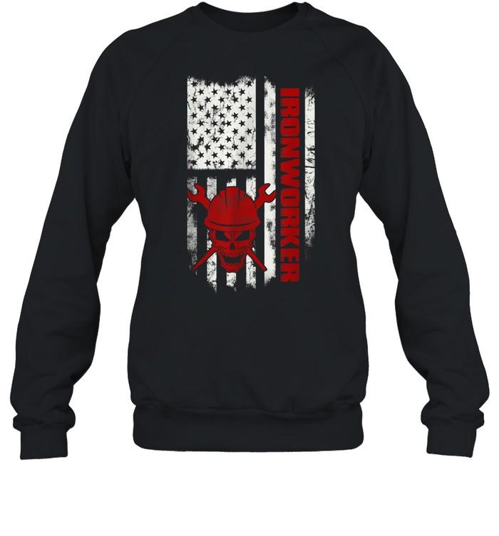 Iron Workers Skull Flag America Ironworker shirt Unisex Sweatshirt