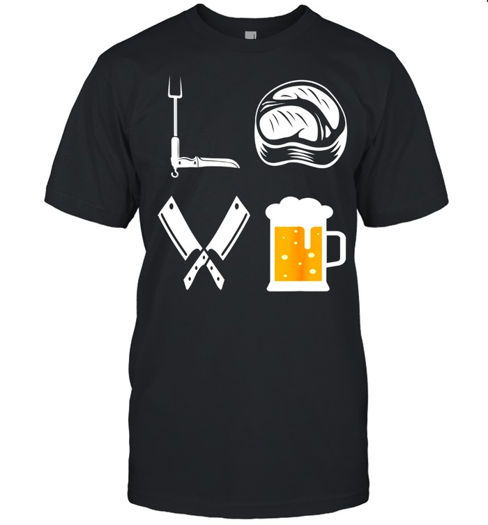 Mens LOVE Barbecue Beer Steak BBQ Grill Master BBQ Grilling shirt Classic Men's T-shirt