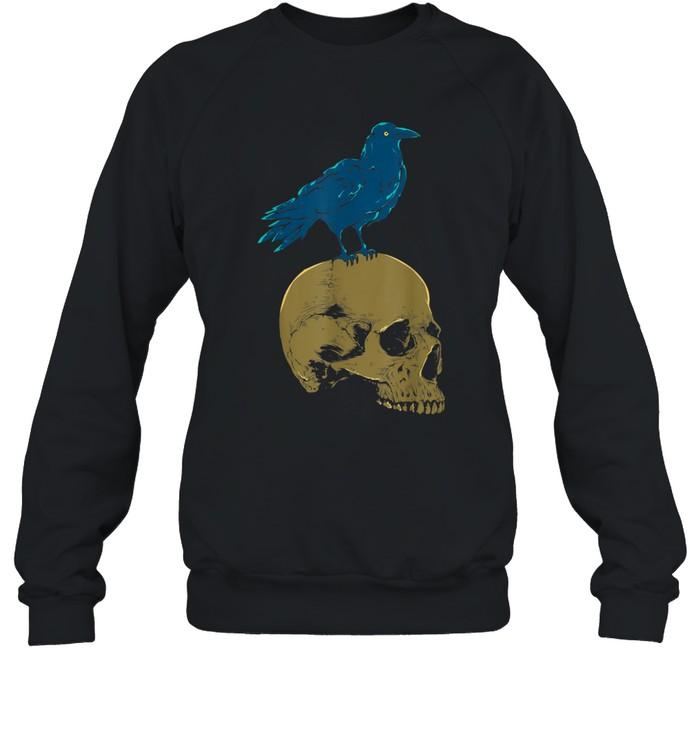 Creepy Skeleton Raven Viking Animal Bird Spooky Skull Crow shirt Unisex Sweatshirt