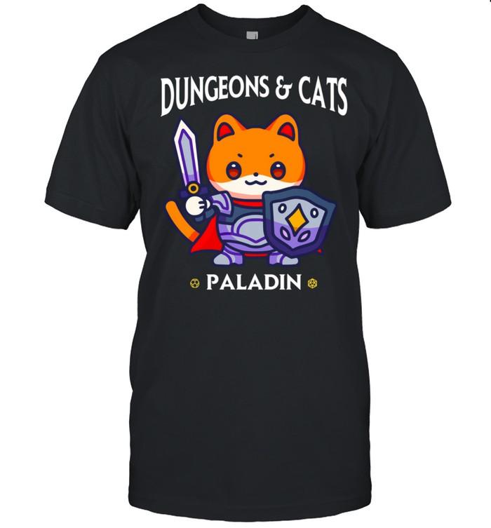 Dungeons and Cats Paladin RPG D20 Fantasy Gamer Cat shirt