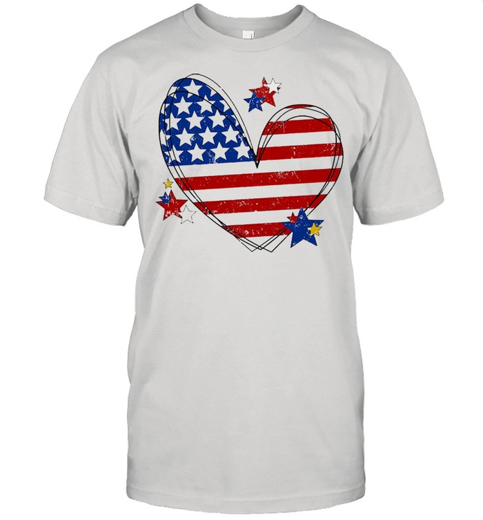 American flag heart matching family july 4th shirt