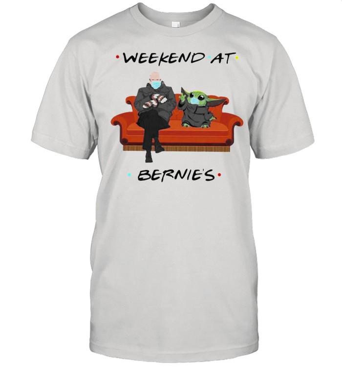 Weekend At Bernies Old Man And Baby Yoda Wear Mask Shirt