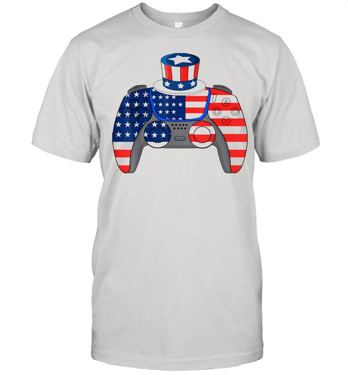 Video Games 4th Of July USA Flag Controller Patriotic Kids Shirt