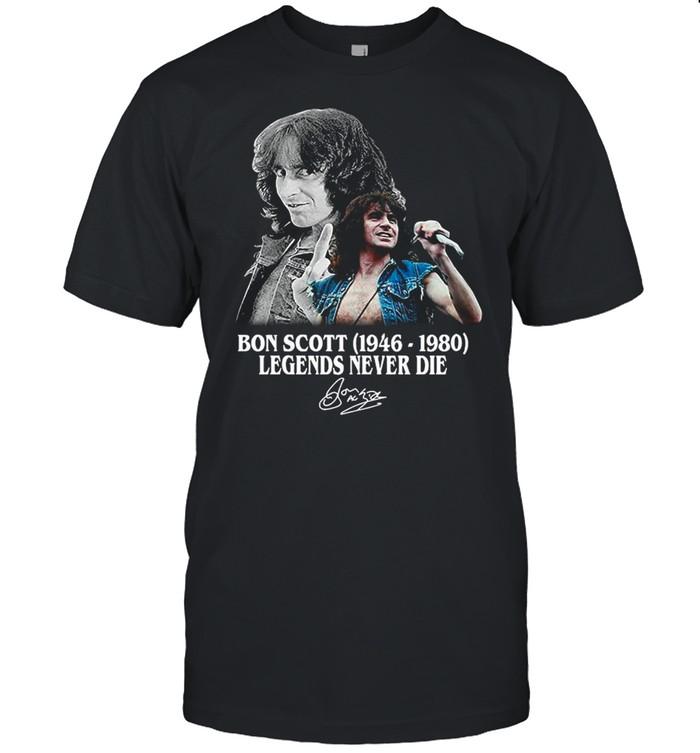 The Bon Scott 1946 1980 Legends Never Die Signatures shirt Classic Men's T-shirt