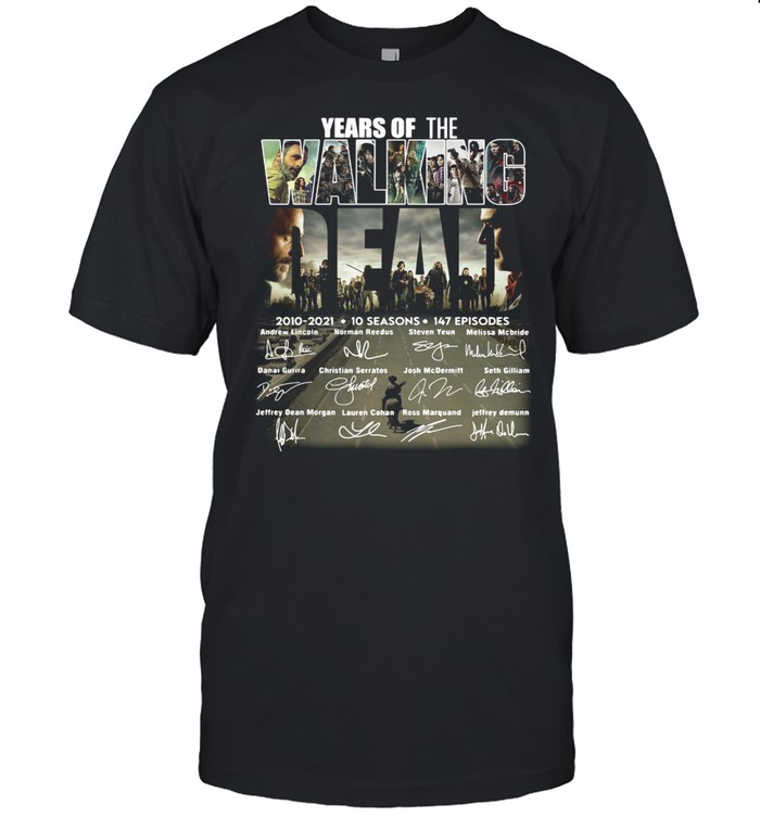 Years of the Walking Dead 2010 2021 10 seasons signatures shirt