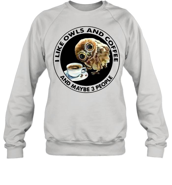 I Like Owls And Coffee And Maybe 3 People T-shirt Unisex Sweatshirt