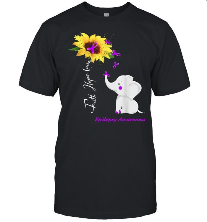 Sunflower Elephant Faith Hope Love Epilepsy shirt