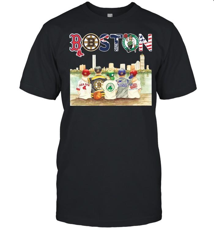 Boston Sport Teams Chibi With Red Sox Bruins Celtics Patriots And Revolution shirt