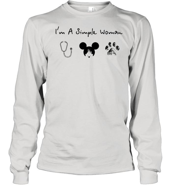 Im A Simple Woman Nurse Mickey Dog Pet  Long Sleeved T-shirt