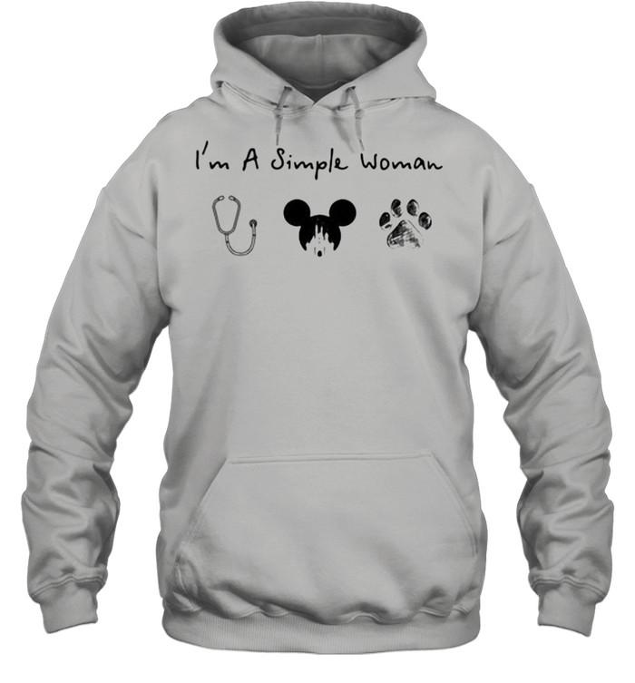 Im A Simple Woman Nurse Mickey Dog Pet  Unisex Hoodie