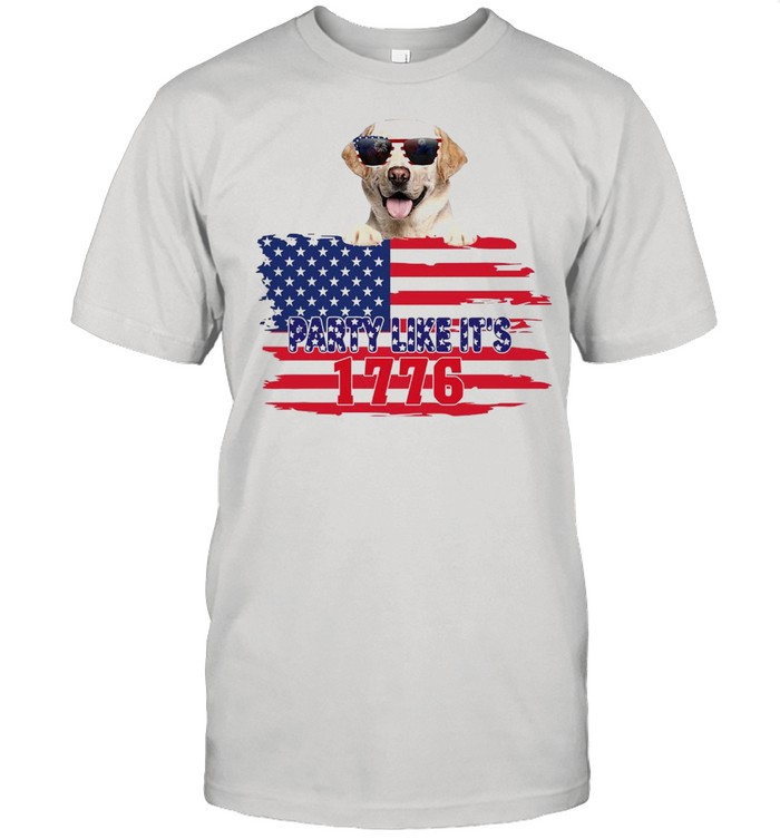 American Flag YELLOW Labrador Party Like It's 1776 T-shirt