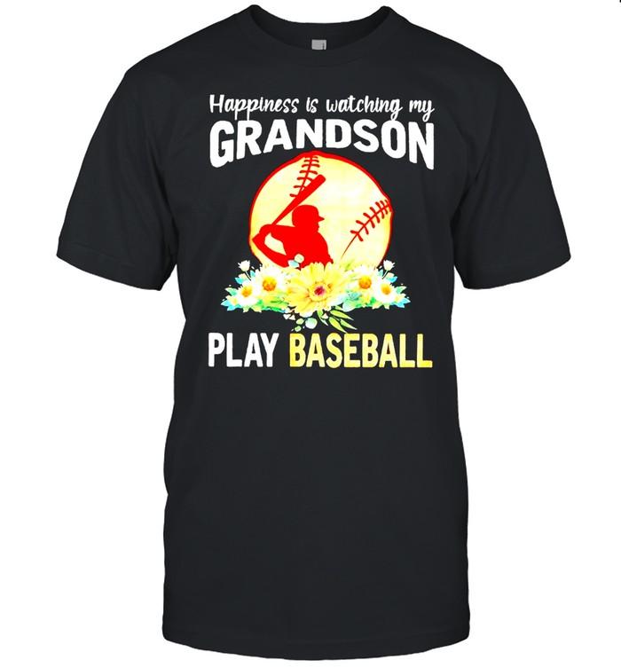 Happiness is watching my grandson play baseball flower shirt Classic Men's T-shirt