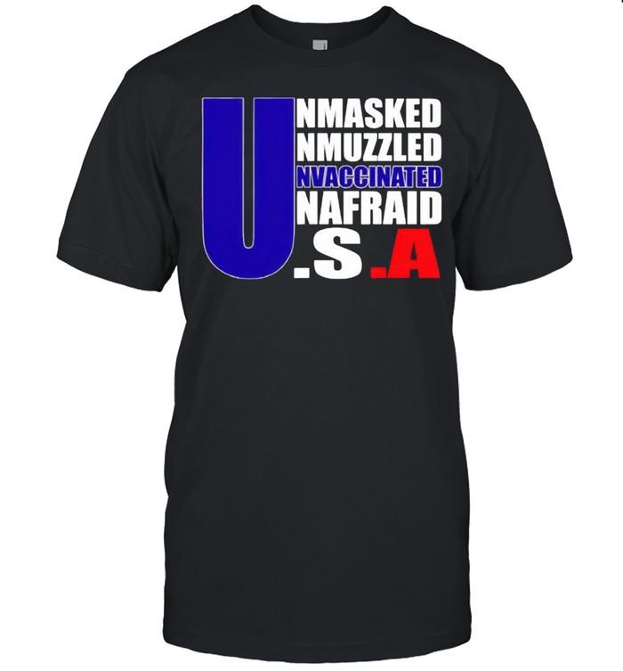 America flag Unmasked Unmuzzled Unvaccinated Unafraid shirt Classic Men's T-shirt